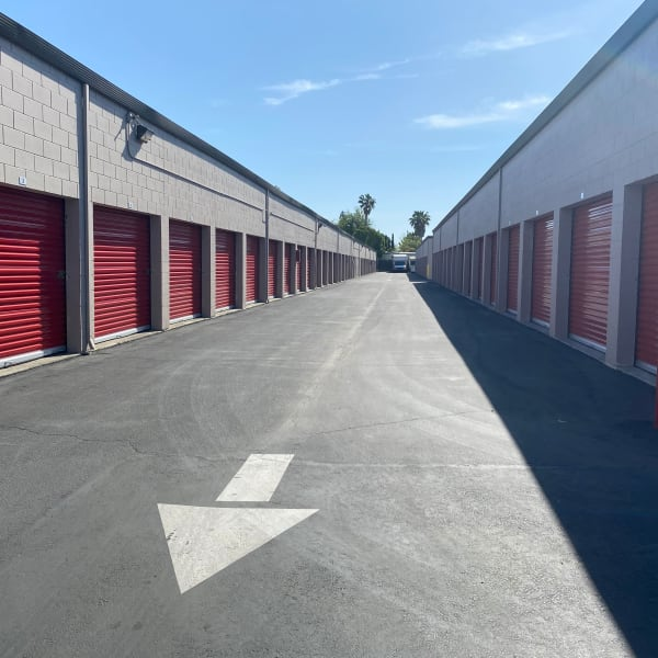Exterior storage units at StorQuest Express - Self Service Storage in Sacramento, California