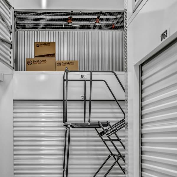A ladder leading to a small unit at StorQuest Self Storage in Boulder, Colorado