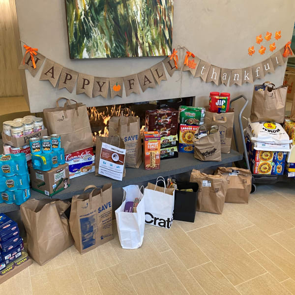 Thanksgiving food drive results at The Century in Seattle, Washington
