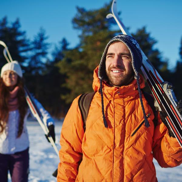 Resident skiing near Mountain Trail in Flagstaff, Arizona