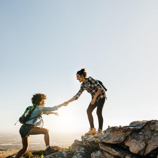 Two residents hiking near Mountain Trail in Flagstaff, Arizona