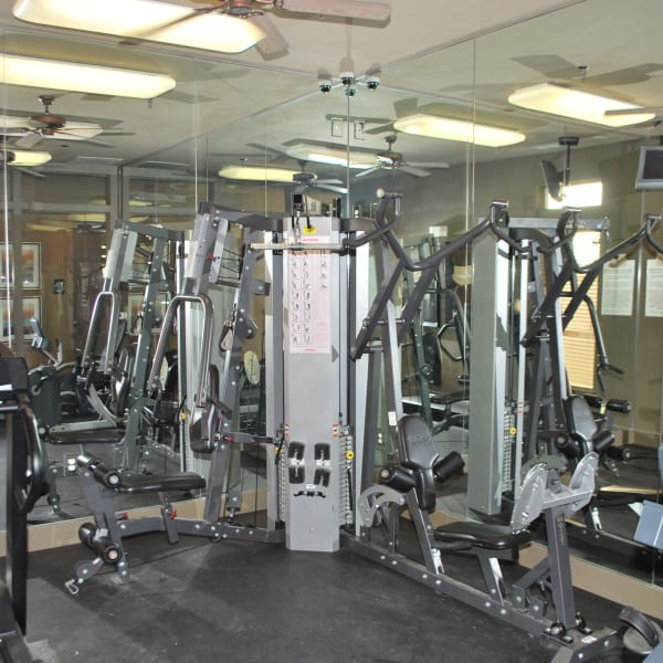 Fitness center at Providence Mockingbird Towers in Dallas, Texas