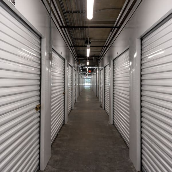 Indoor storage units at StorQuest Self Storage in Gainesville, Florida