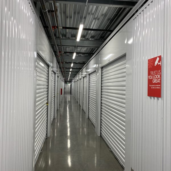 White doors on indoor units at StorQuest Self Storage in Redmond, Washington