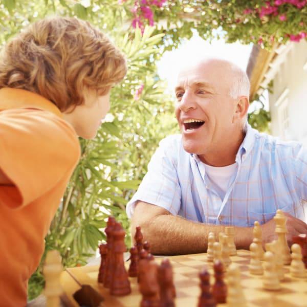 Resident and his grandson at Pacifica Senior Living Menifee in Sun City, California.