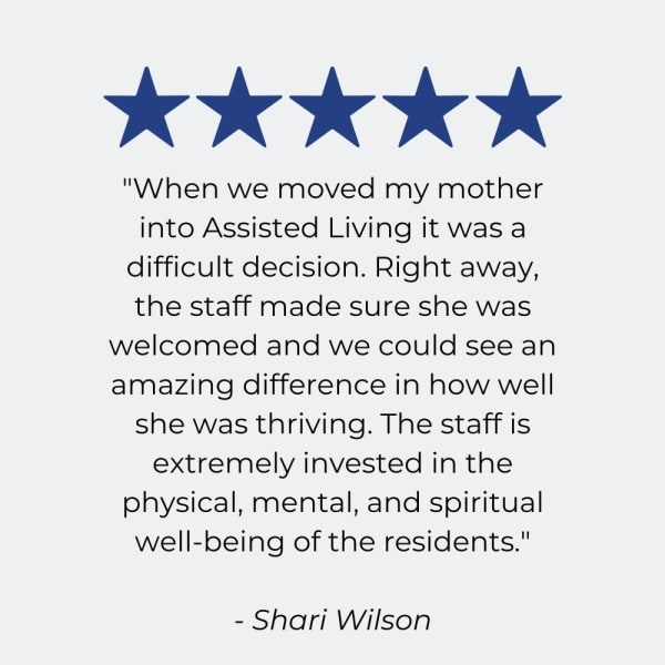 Testimonial for Harmony at West Shore