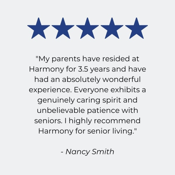 Testimonial for Harmony Senior Services