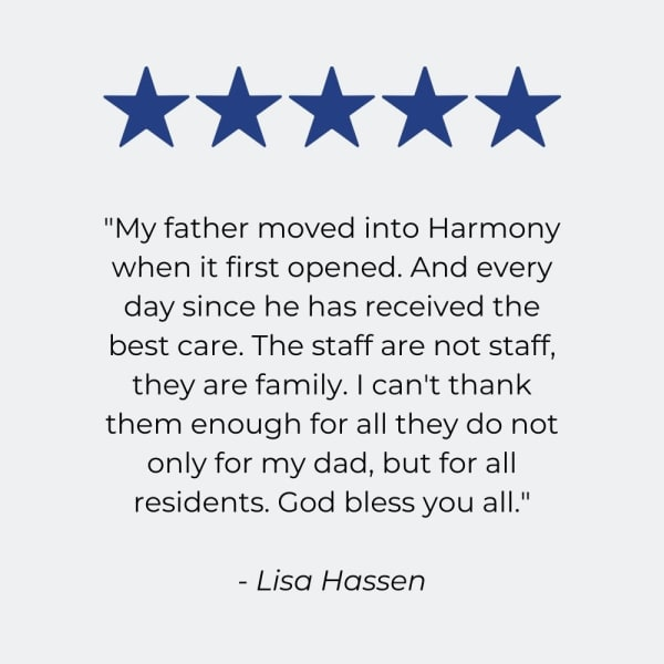 Testimonial for Harmony at Brentwood