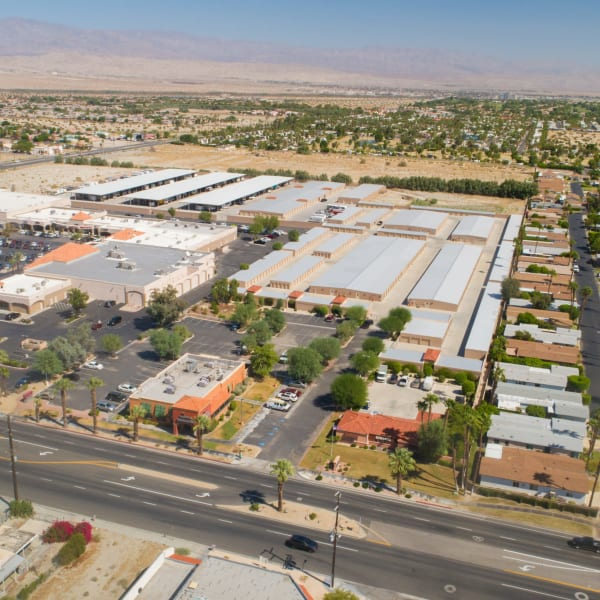 Aerial view of the units at StorQuest Self Storage in Cathedral City, California