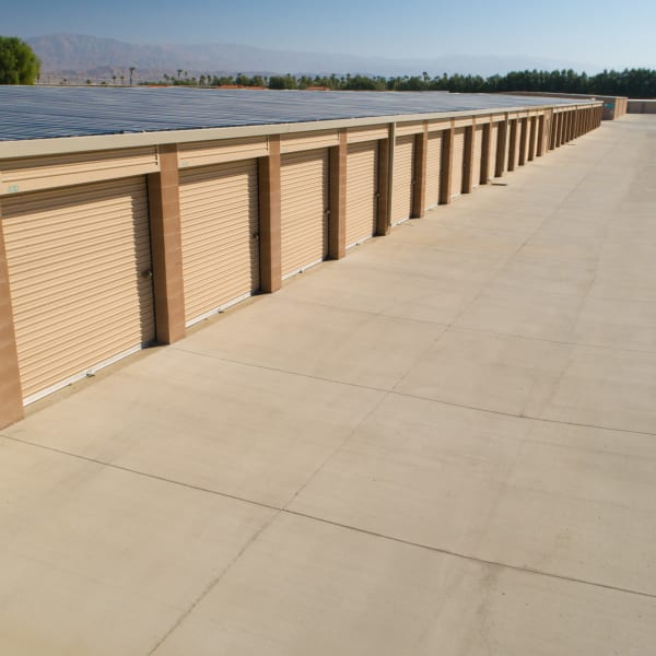 Large outdoor storage units at StorQuest Self Storage in Cathedral City, California