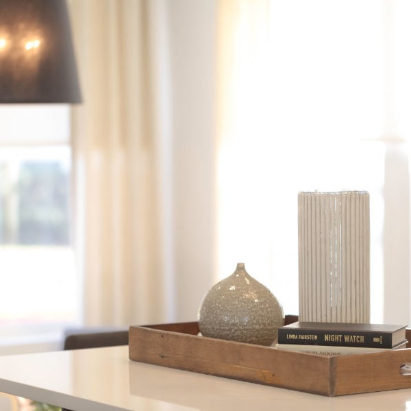 Living room accents at Ballena Village Apartment Homes in Alameda