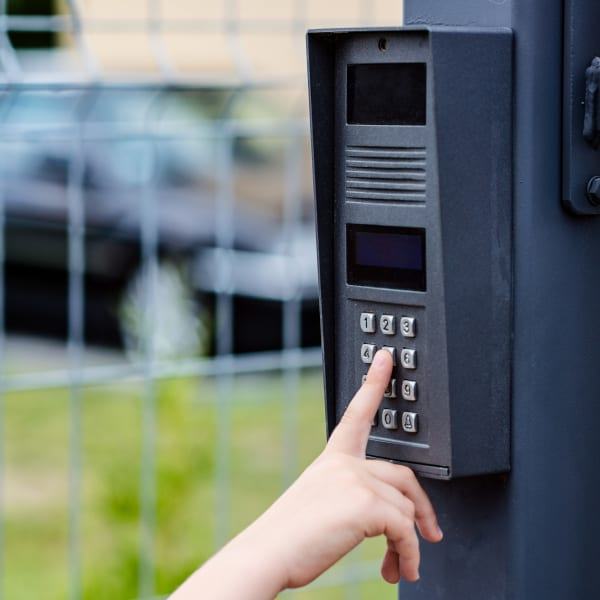 Keypad at the gated entry of The Storage Place in Mesquite, Texas