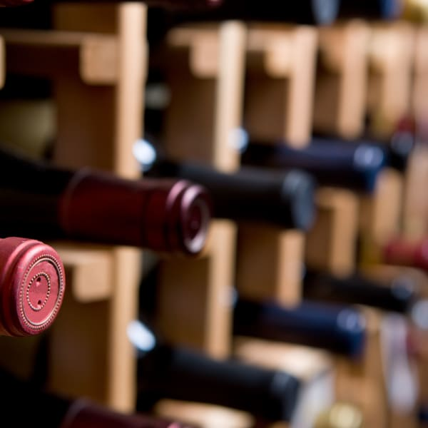 Red wines stored at Collection 55 Cellars in Redwood City, California