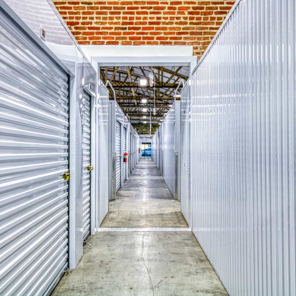 Climate-controlled, well-lit indoor units at StorQuest Self Storage in Modesto, California