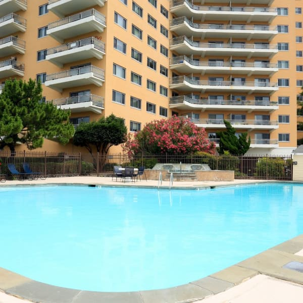 Resort style swimming pool on a nice day at Pembroke Towers in Norfolk, Virginia