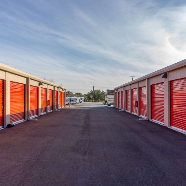 Outdoor storage units at StorQuest Self Storage in Fort Worth, Texas