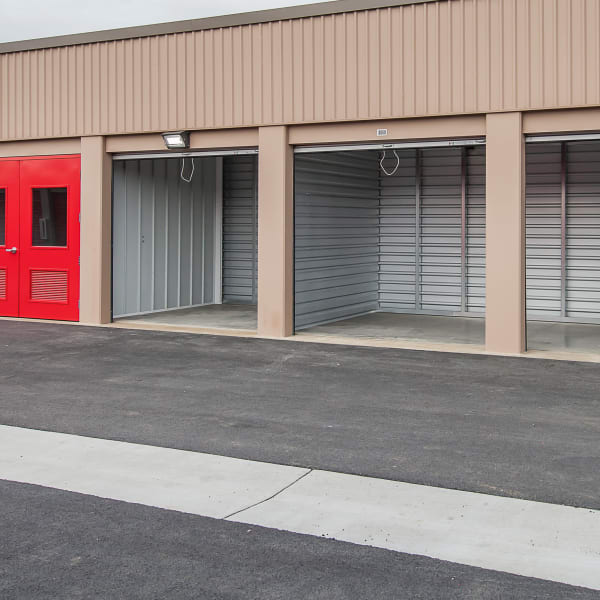storage units with bright doors at StorQuest Self Storage in Port St Lucie, Florida