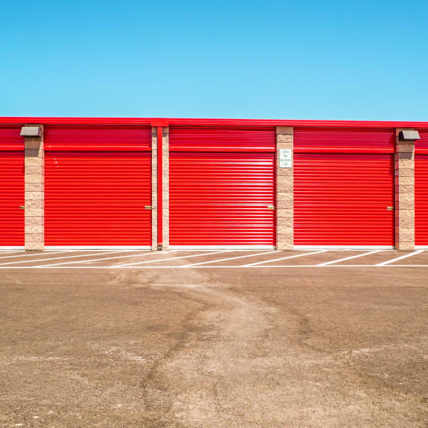 Red doors on outdoor units at StorQuest Self Storage in Reno, Nevada
