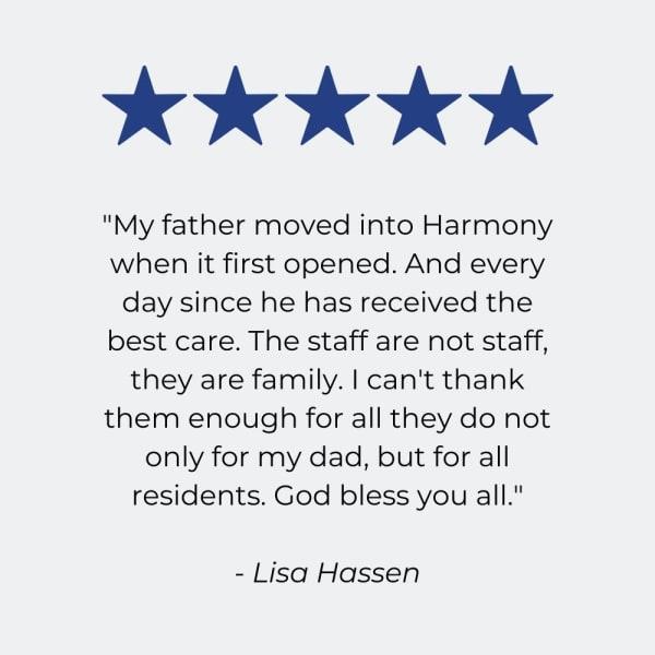 Testimonial  for Harmony at Elkhart in Elkhart, Indiana