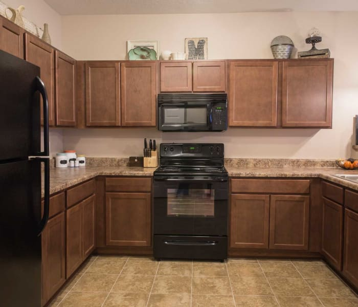 Modern apartment kitchen at Ironwood in Altoona, Iowa