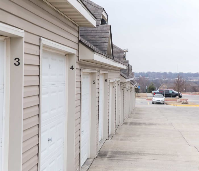 Community garages at Golf View in Pleasant Hill, Iowa
