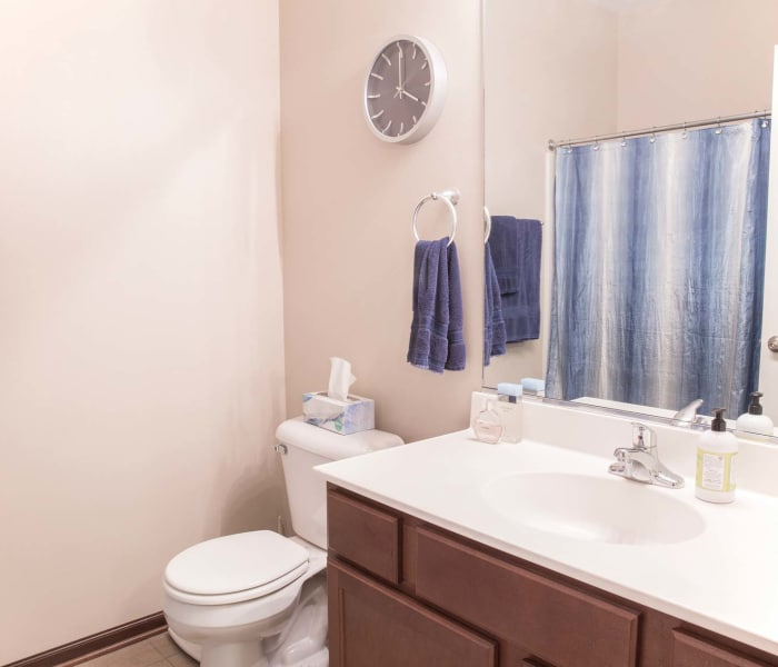 Apartment bathroom with a shower at Golf View in Pleasant Hill, Iowa