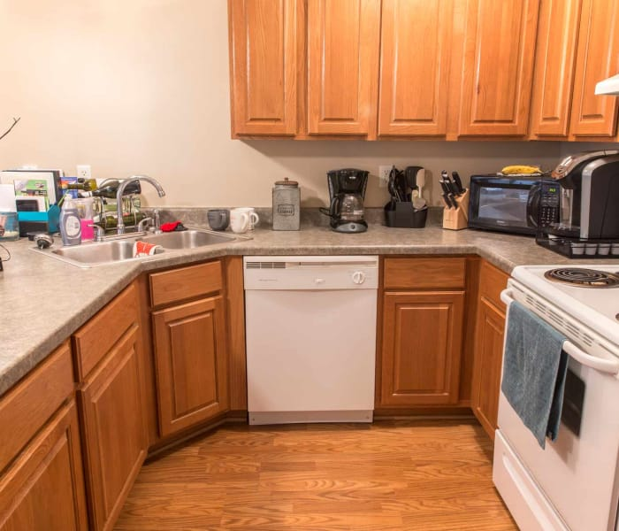 Apartment kitchen at Riverwood in Pleasant Hill, Iowa