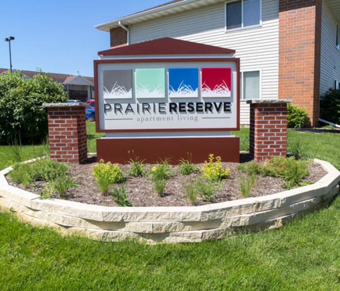 Branding and signage at Prairie Reserve in Cedar Rapids, Iowa