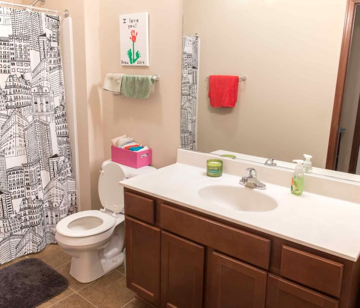 Apartment bathroom at Providence Pointe in Johnston, Iowa
