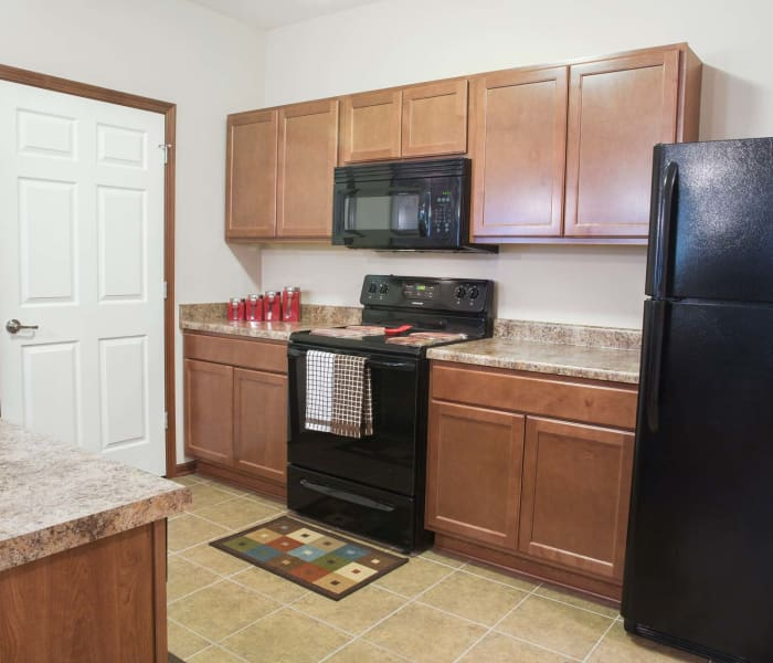 Apartment kitchen at Providence Pointe in Johnston, Iowa