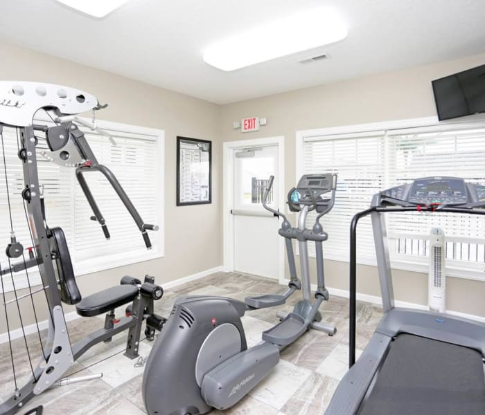 Exercise equipment in the gym at The Landing of Clinton in Clinton, Iowa