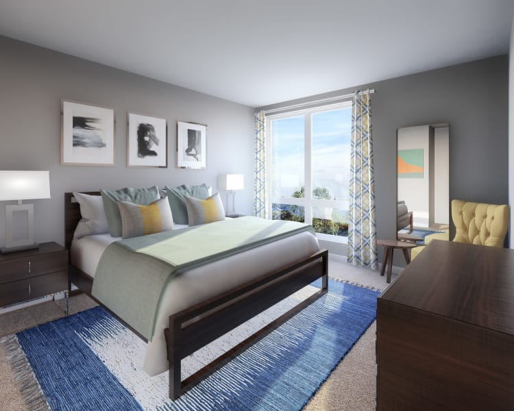 Modern bedroom at 50 Front Luxury Apartments in Binghamton, NY