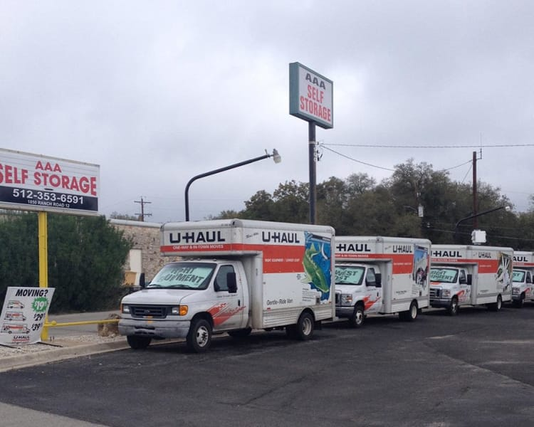 Moving truck rentals at Ranch Road Self Storage in San Marcos, Texas