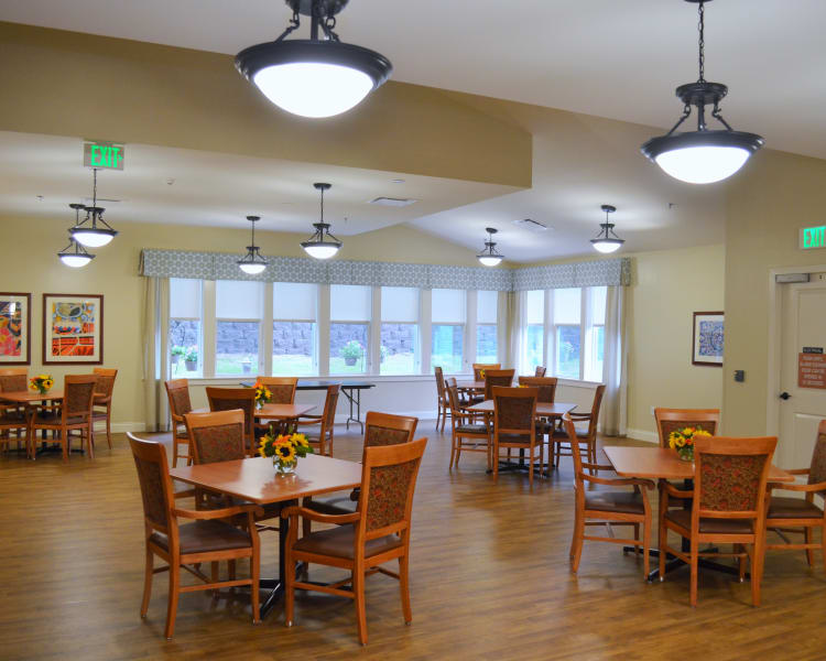Dining tables at Avenir Memory Care at Little Rock in Little Rock, AR