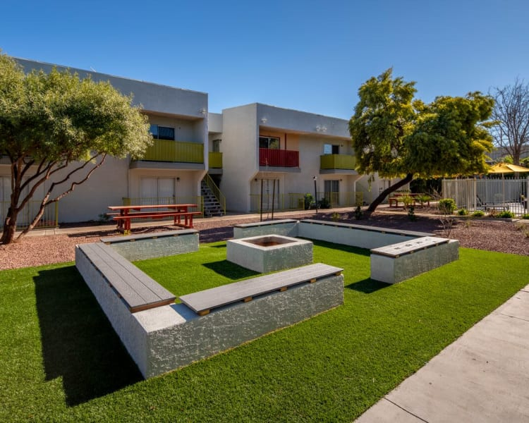 Our beautiful apartments in Tucson, Arizona showcase a fire pit