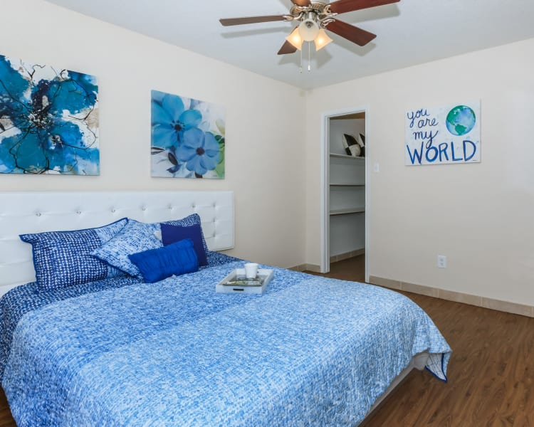 Bedroom with walk-in closet and personal bathroom at The Vibe at Clear Lake in Webster, Texas
