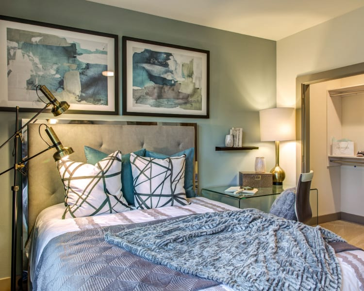 Spacious closet in model bedroom at Waterford Trails in Spring, Texas