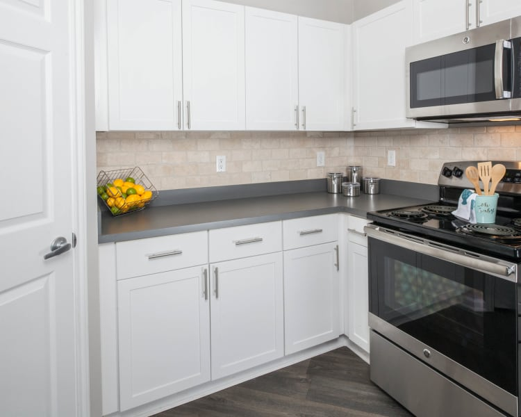 Fully equipped kitchen with stainless-steel appliances at The View at Encino Commons in San Antonio, Texas