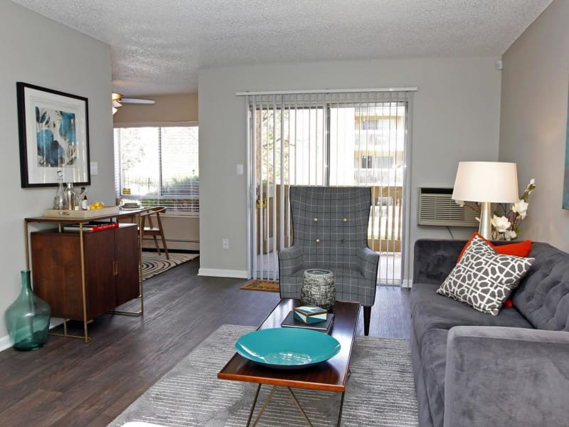 Model living room at 3300 Tamarac in Denver