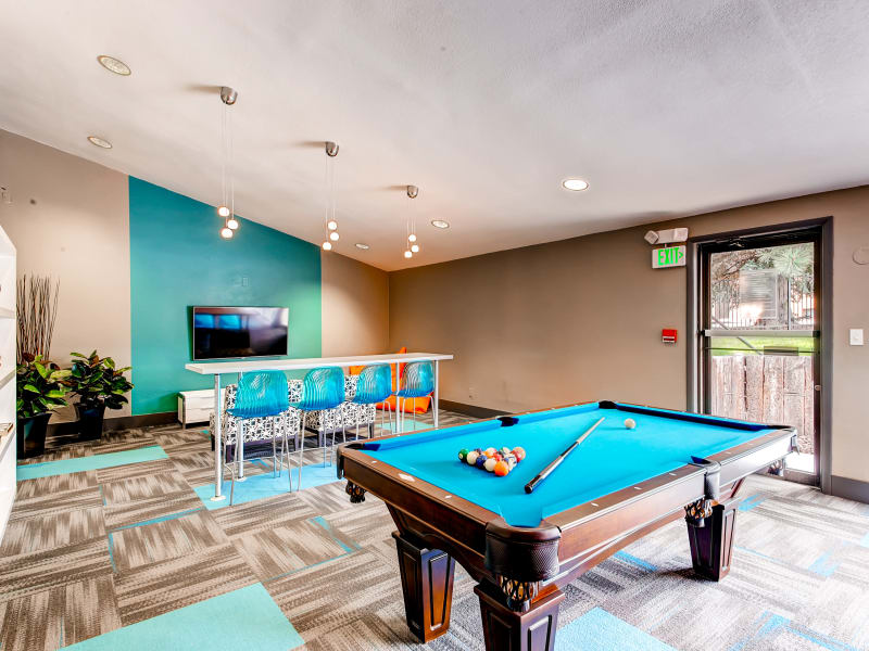 Pool table inside of the clubhouse at 3300 Tamarac in Denver
