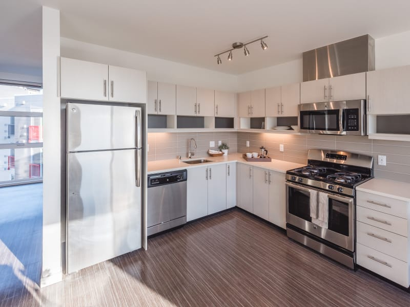 Stainless steel appliances in Session Apartments