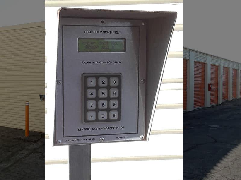 Digital keypad at entrance to AV Self Storage in Palmdale, CA