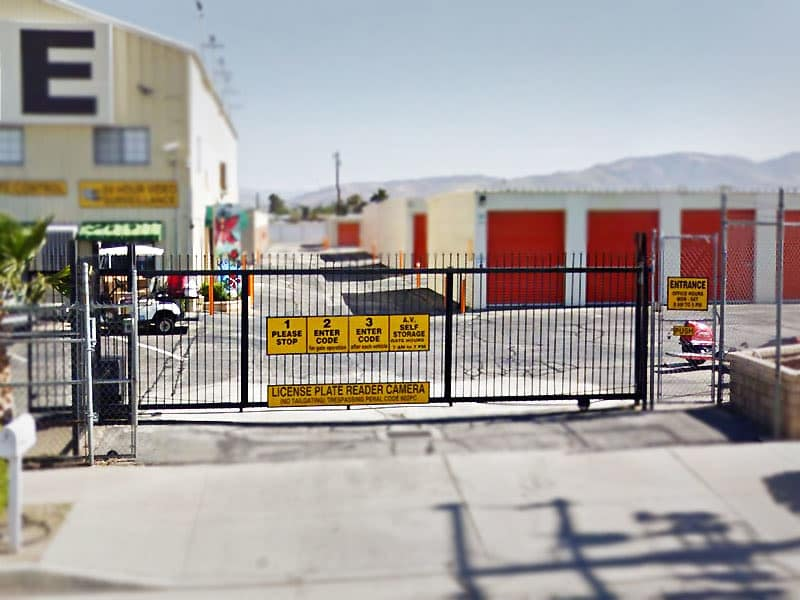 Front gate at AV Self Storage in Palmdale, CA