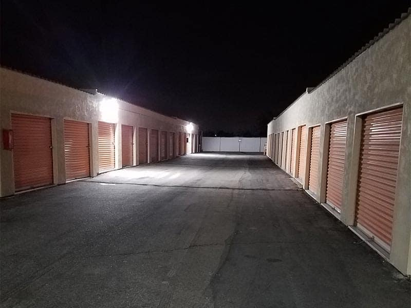 Self storage units at AV Self Storage in Palmdale, CA at night