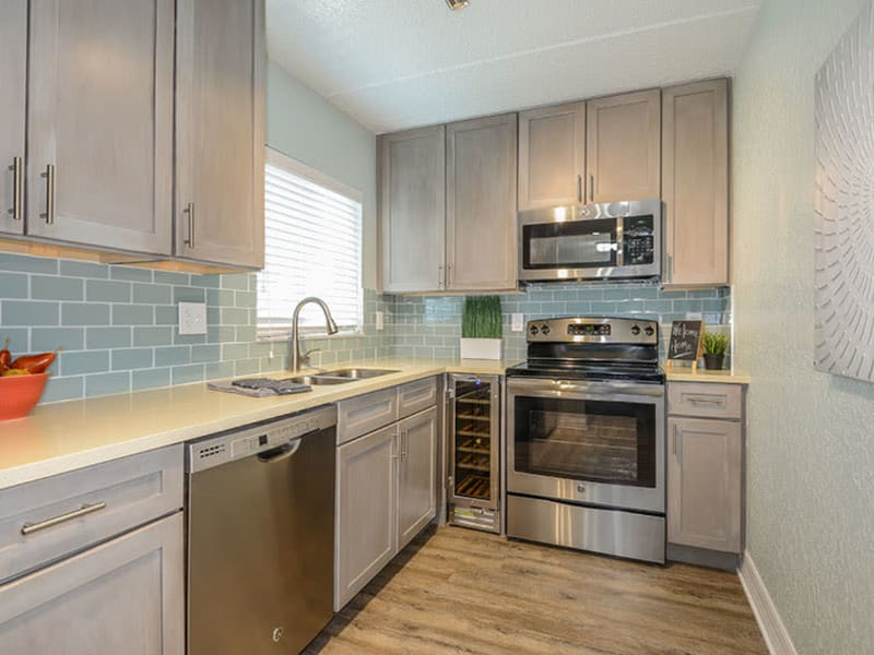 Lovely kitchen in model home at Sailpointe Apartment Homes in South Pasadena, Florida