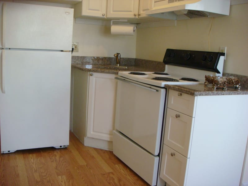 Stove in kitchen at 400 Atlantic in Bridgeport, Connecticut
