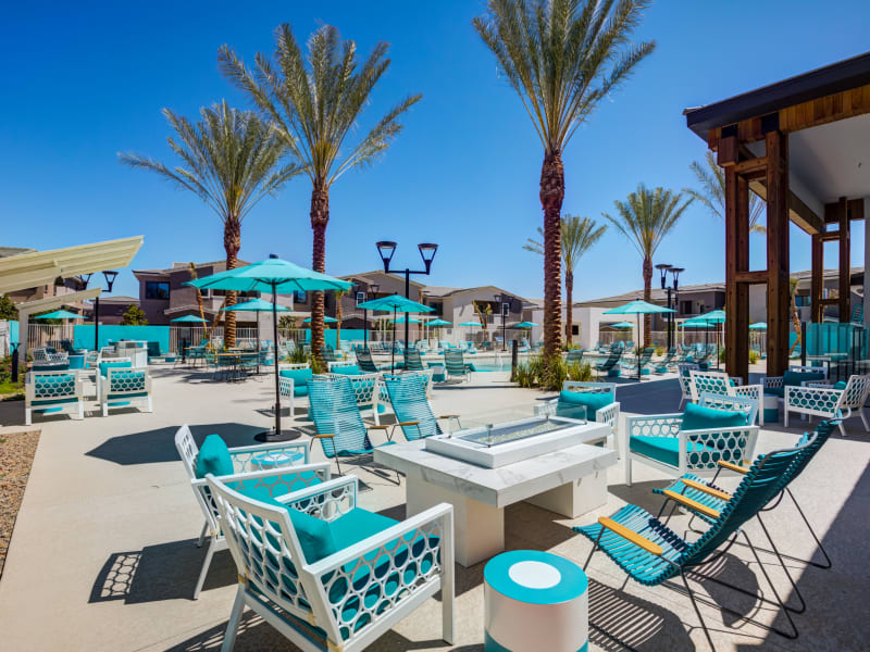 Outdoor Lounge near the Pool at SUR702 in Las Vegas, Nevada