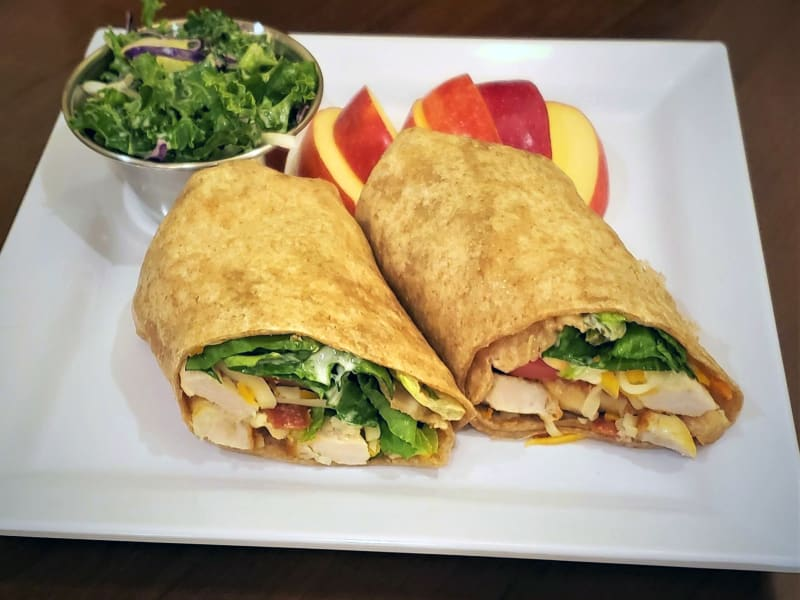 Grilled chicken club wrap at Heron Pointe Senior Living