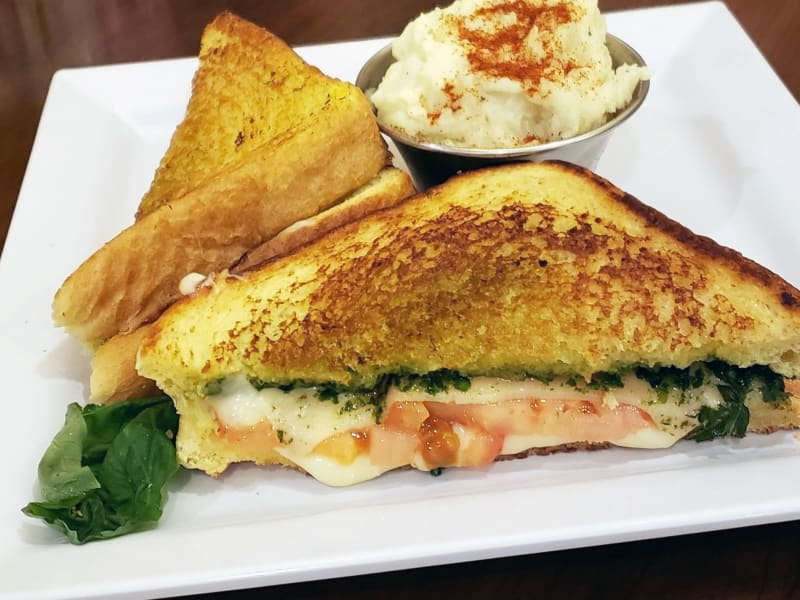 Pesto grilled cheese sandwich at Heron Pointe Senior Living