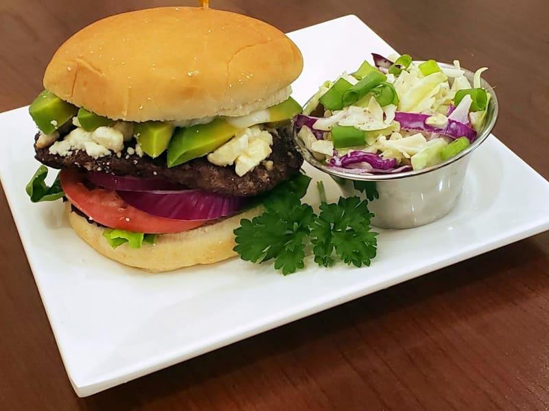 Feta avocado burger at Maple Ridge Senior Living
